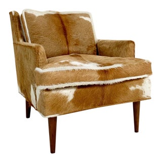 Mid-Century Flair Inc. Lounge Chair in Brazilian Cowhide For Sale