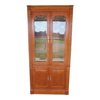 "Stickley Cherry 4 Door Bookcase Lighted Display Wall Cabinet Model 4740 ""B"" For Sale"