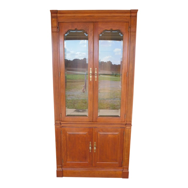 """Stickley Cherry 4 Door Bookcase Lighted Display Wall Cabinet Model 4740 """"B"""" For Sale"""