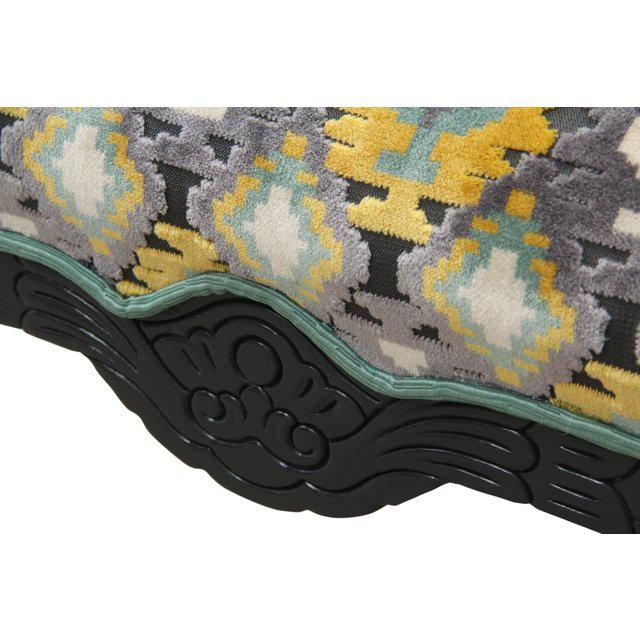 Newly Upholstered Carved Ottoman in Gray, Yellow & Teal - Image 4 of 6