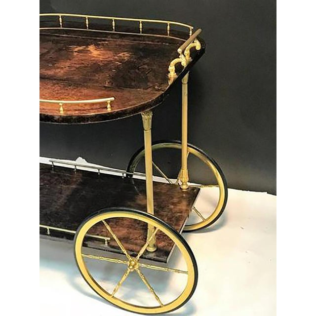 Unusual and Stunning Chocolate Goatskin Bar Cart by Aldo Tura For Sale In Philadelphia - Image 6 of 9