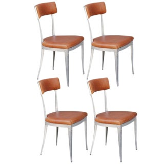Set of 4 Neoclassical Aluminum and Brown Leather Dining Chairs For Sale
