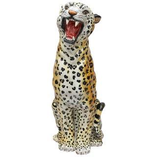 Italian Glazed Terracotta Life-Size Leopard Figure For Sale
