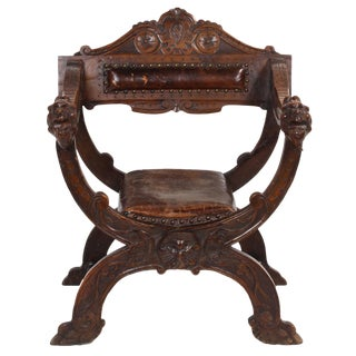 19th C. Italian Carved Savonarola Chair