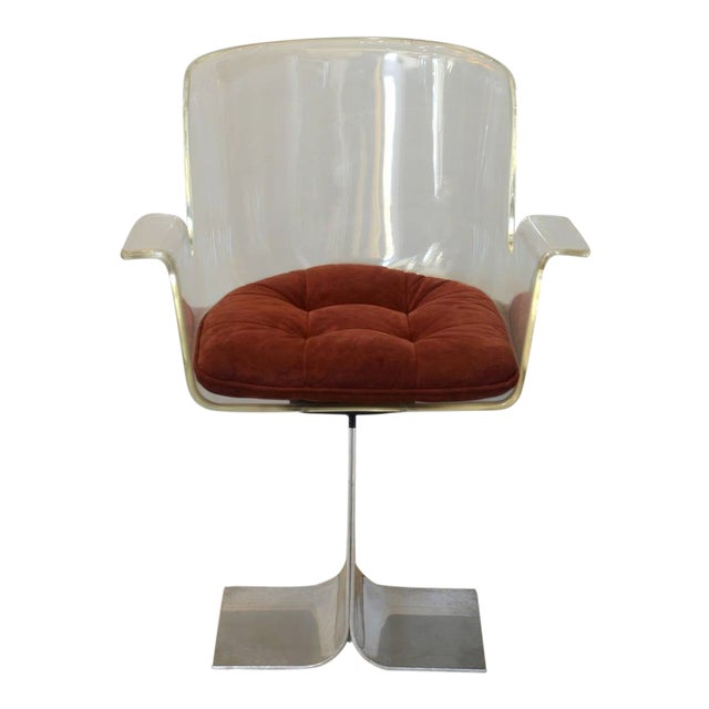 1960s Roger Tallon Inspired Swiveling Lucite and Polished Aluminum Armchair For Sale