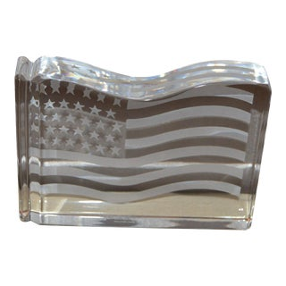 Tiffany & Co 'Flag' Crystal Paperweight For Sale