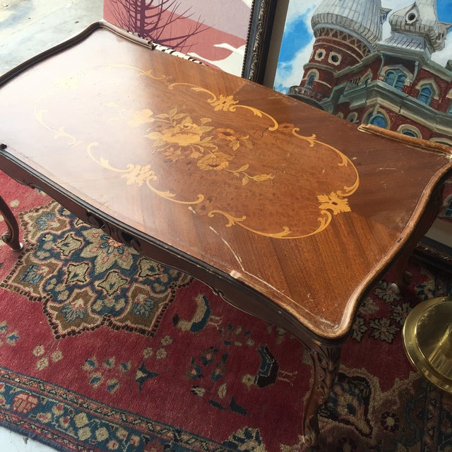 Antique Coffee Tables Ireland: Antique Wooden Marquetry Floral Coffee Table