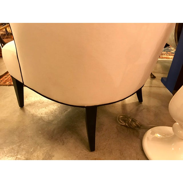 Fabric Custom-Made Classic Modern Lined Armchair For Sale - Image 7 of 8