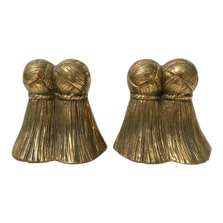 Pair of Solid Brass Tassel Bookends For Sale
