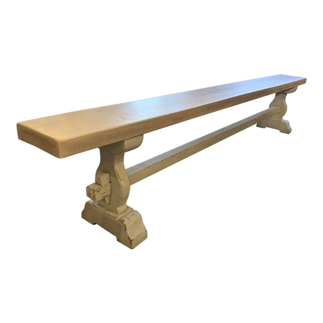 Antique French Blue-Gray Trestle Bench For Sale