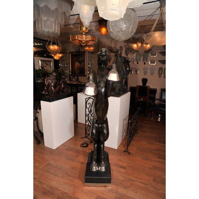 Chrome Maison Jansen Pair of Monumental, Electrified Horse Figures For Sale - Image 7 of 10
