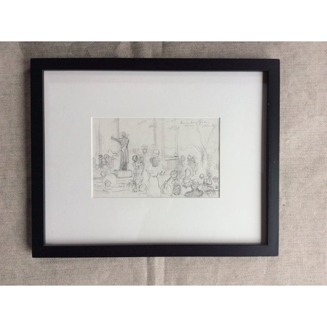 French French Impressionist Style Oil Painting & Drawing - A Pair For Sale - Image 3 of 9