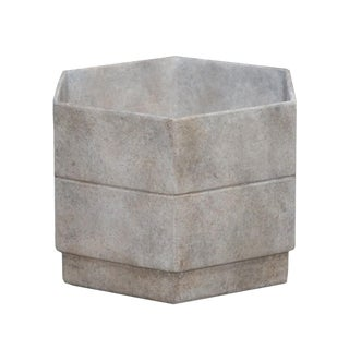 Hex 2 Planter in French Grey For Sale