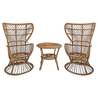 Italian Mid-Century Modern Rattan Wingback Chairs For Sale