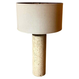 Vintage Postmodern Italian Solid Travertine Column Table Lamp For Sale
