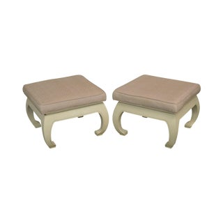 Mid-Century White Lacquered Pair Asian Style Stools For Sale