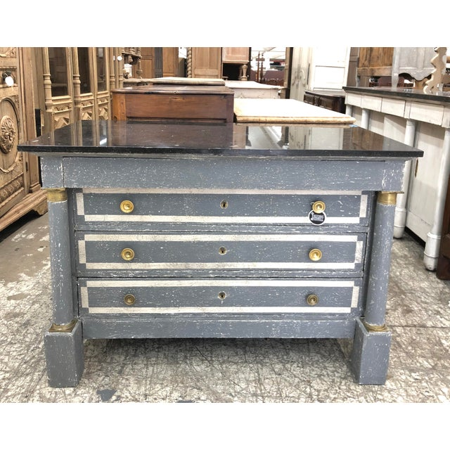 Slate Gray 1870s Painted French Empire Marble Top Commode For Sale - Image 8 of 8