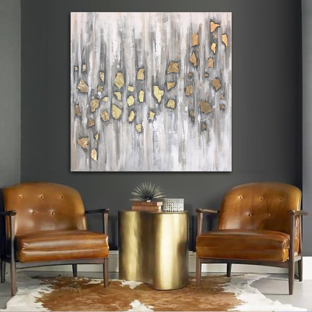 Beautifully neutral and monochromatic with gold leaf accents. This painting offers intriguing depth and dimension and is...