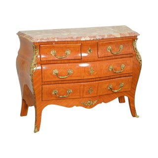 French Louis XV Style Marble Top Bombe Commode Chest of Drawers