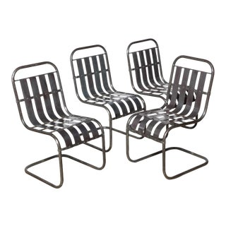 1930s Industrial Steel Spring Rocker Side Chairs- Set of 4 For Sale
