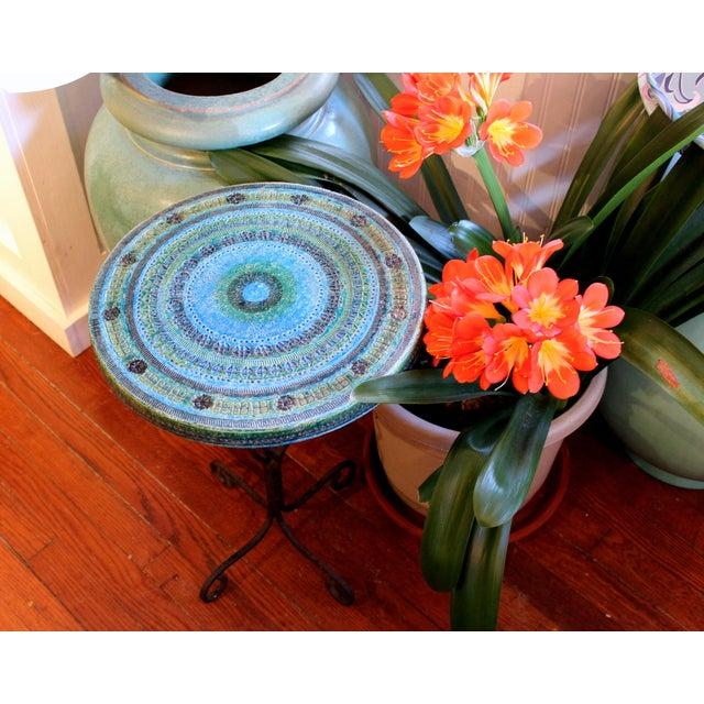 1960s Bitossi Rimini Blue Londi Italian Pottery Wrought Iron Ceramic Table For Sale - Image 9 of 10