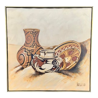 "Vintage Large Natonichee ""Broken Pottery"" Screenprint on Canvas For Sale"