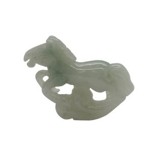 Green Jade Chinese Zodiac Horse Running on Luyi Cloud Pendant For Sale