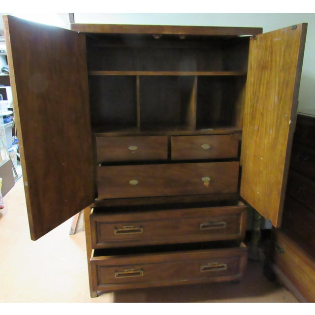 Mid 20th Century Century Furniture Asian Campaign Style Armoire Chest With Brass Accents For Sale - Image 5 of 11