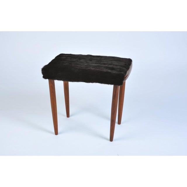 Mid Century Modern Fur Covered Footstool - genuine vintage black mink