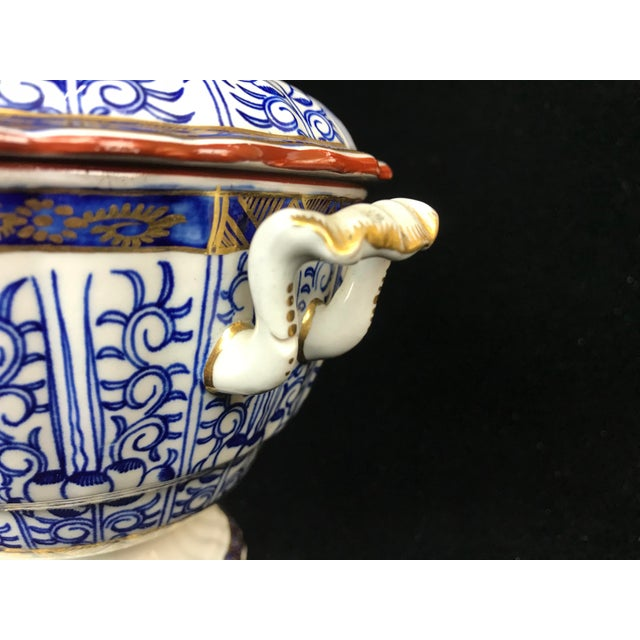 19th Century Victorian Blue & White China Lidded Serving Dishes - a Pair For Sale - Image 9 of 11