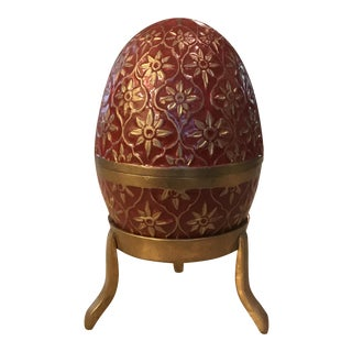Brass & Enamel Egg Box on Stand For Sale