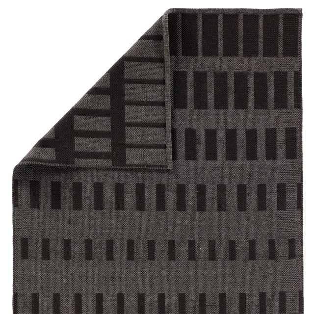 Nikki Chu by Jaipur Living Vaise Indoor/ Outdoor Geometric Gray/ Black Area Rug - 7′6″ × 9′6″ For Sale - Image 4 of 6