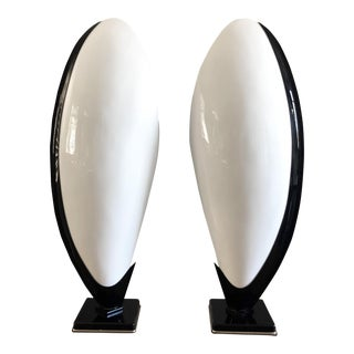 Monumental Sculptural Oyster Acrylic Table Lamps by Rougier, a Pair For Sale