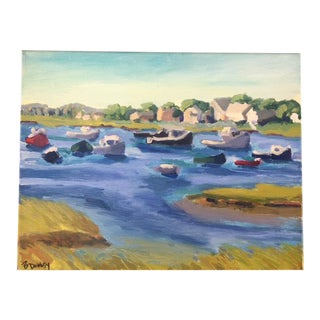 """Lobster Boats in Green Harbor"" Contemporary Plein Air Oil Painting For Sale"