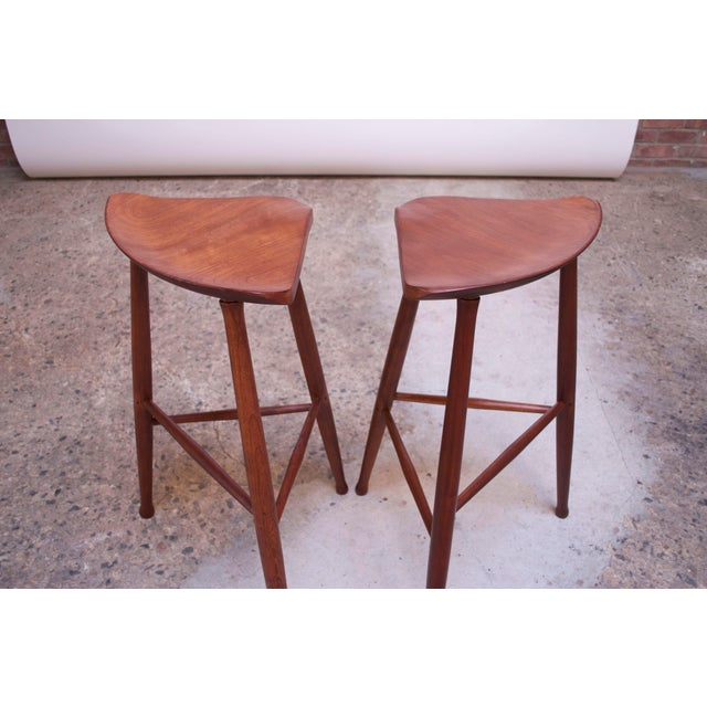 Vintage Solid Walnut Studio Craft Bar Stools by David Scott - a Pair For Sale - Image 4 of 13