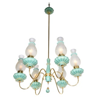 1950s Italian Six-Arm Chandelier Glass Attributed to Seguso Vetri d'Arte For Sale