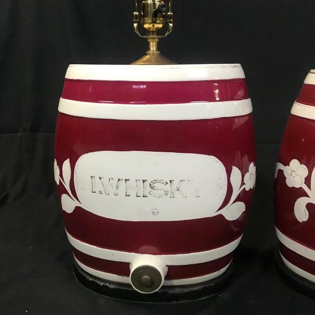 1920s Festive British Ceramic Spirit Barrel Lamps - a Pair For Sale In Portland, ME - Image 6 of 7