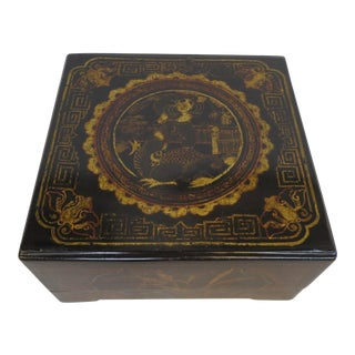 19th Century Chinoiserie Gilt Painted Box For Sale