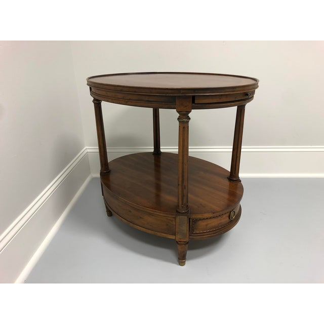 Mid-Century Modern Vintage Mid Century Banded Walnut Oval End Side Table by Heritage For Sale - Image 3 of 13