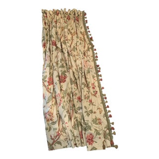 Schumacher Fabric Full Length Curtains With Trim For Sale