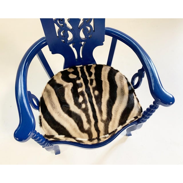 Early 20th Century Renaissance Revival Armchair With Zebra Hide Cushion For Sale - Image 5 of 7