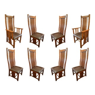 Crafters and Weavers Arts and Crafts Oak Curved High Back Dining Chairs- Set of 8 For Sale