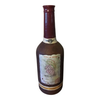 Vintage French Ceramic Decorative Wine Bottle For Sale