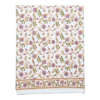 Gina Flat Sheet, Twin - Lilac & Green For Sale
