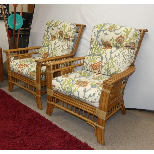 Hollywood Regency Coastal Creations Rattan Armchairs With High-End Embroidered Crewel Cushions- a Pair For Sale - Image 3 of 11