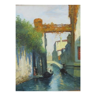 Venetian Canal Oil Painting For Sale