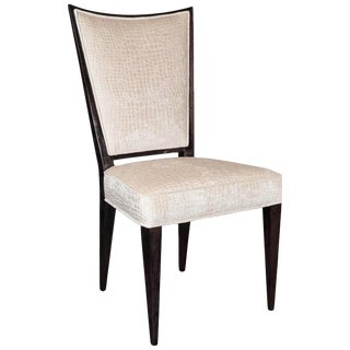 Mid-Century Modern Side/Desk Chair in Ebonized Walnut and Gauffraged Velvet For Sale