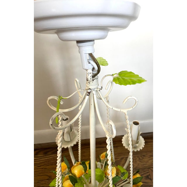 Vintage Mid 20th Century 6 Arm Tole Chandelier For Sale - Image 4 of 8
