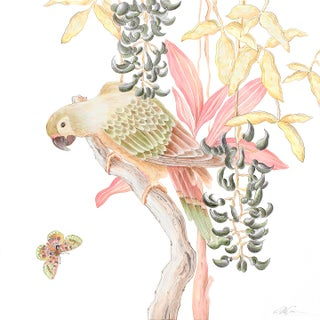 """Bird of Passage"" Tropical Chinoiserie by Allison Cosmos For Sale"