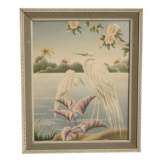 Vintage Mid Century Modern Flamingos Wall Mantle Picture by Turner #38 For Sale